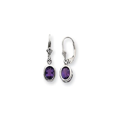 Sterling Silver 7x5mm Oval Amethyst Leverback Earrings