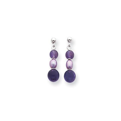 14k White Amethyst Lavender Cultured Pearl Bead Earrings