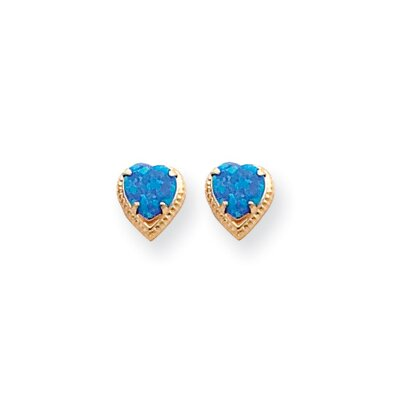 14k 5.5mm Created Blue Opal Heart Earrings