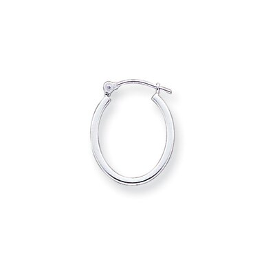 Jewelryweb 14k White Gold 1.75mm Square Tube Oval Hoop Earrings