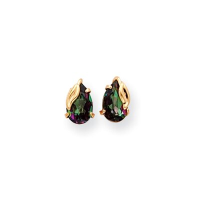 Jewelryweb 14k 8x5 Mystic Fire With Leaf Stud Earrings