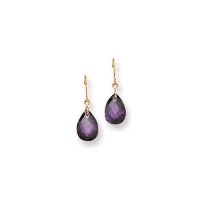 14k Purple CZ Pear Shaped Dangle Earrings