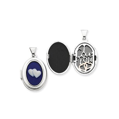 Sterling Silver Double Heart Cameo 21mm Oval Locket
