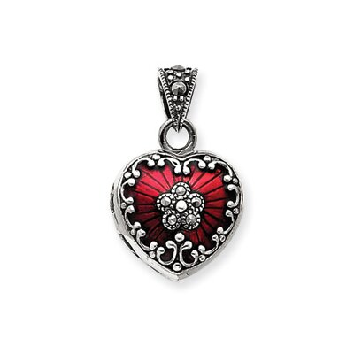 Sterling Silver Red Enamel and Marcasite Heart Locket