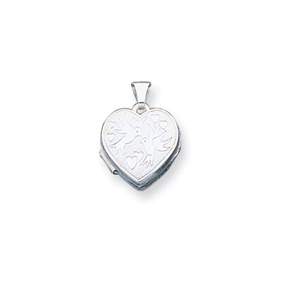 Sterling Silver Love Birds Heart Locket