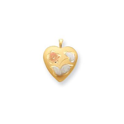 14k Gold Filled Tri-color 2-Frame Flower Heart Locket