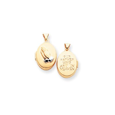 14k Two-Tone Polished Praying Hands Reversible Oval Locket