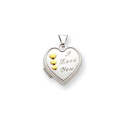 14k White Gold and Rhodium 15mm Heart Locket