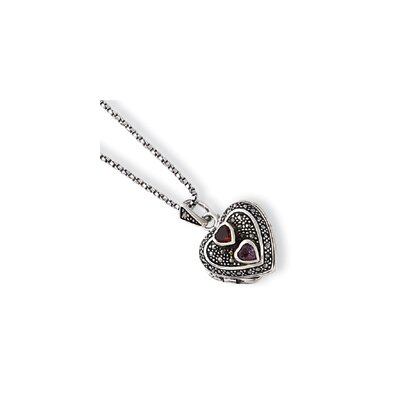 Marcasite Garnet Amethyst Heart Locket Chain - Spring Ring