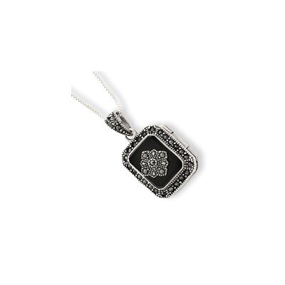 Sterling Silver Marcasite and Onyx Locket Necklace - Spring Ring