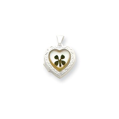 Sterling Silver MOP with 4 Leaf Clover 2-Frame Heart Locket