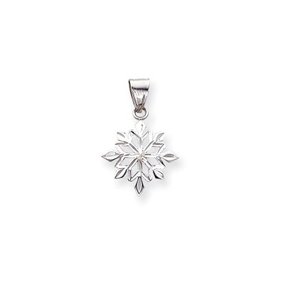 14k White Gold Solid Polished Diamond-Cut Snowflake Pendant