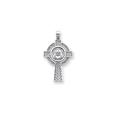 Jewelryweb 14k White Gold Celtic Claddagh Cross Pendant