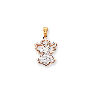 14k Two-Tone Filigree Angel Pendant