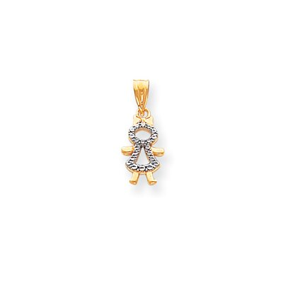 Jewelryweb 14k and Rhodium Girl Pendant