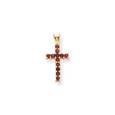 Jewelryweb 14k Garnet Cross Pendant