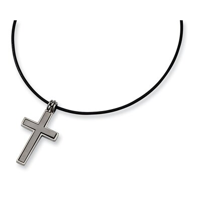Titanium Leather Cord Cross Necklace