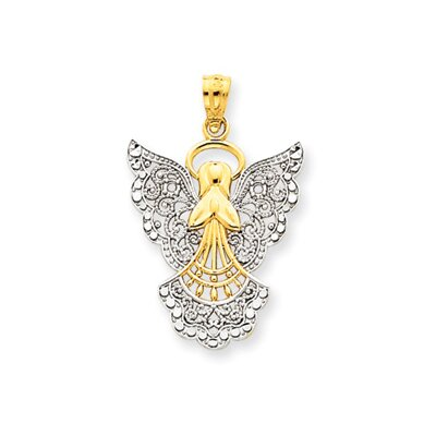 Jewelryweb 14k and Rhodium Filigree Angel Pendant