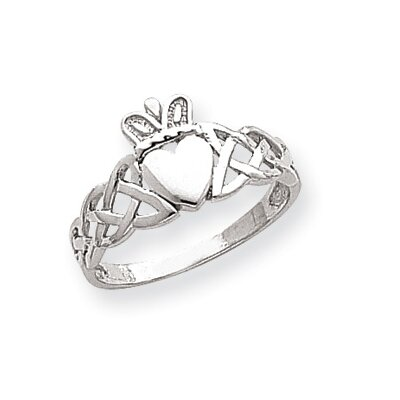 14k White Gold Mens Claddagh