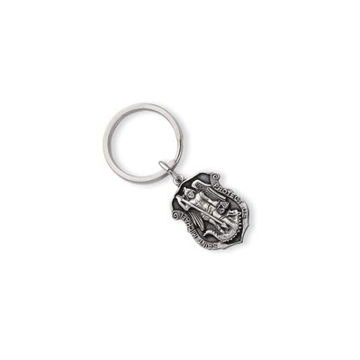 Jewelryweb Rhodium-plated St. Michael Key Ring