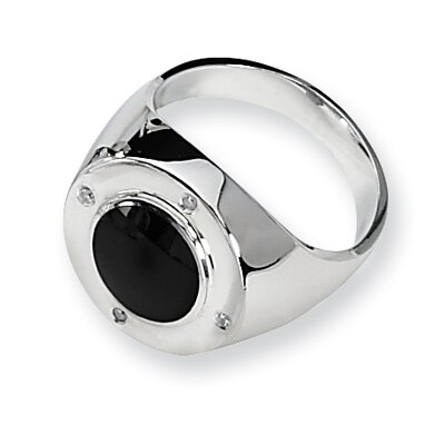 Sterling Silver Onyx and Diamond Mens Ring