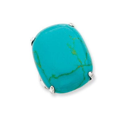Jewelryweb Sterling Silver Rectangle Turquoise Ring