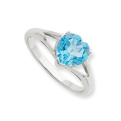 Sterling Silver Rhodium Light Swiss Blue Topaz Ring