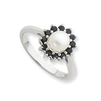 Sterling Silver Rhodium 6mm FW Cultured Button Pearl and Sapphire Ring