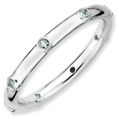 Jewelryweb Sterling Silver Stackable Expressions Aquamarine Ring