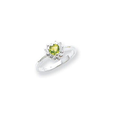 Jewelryweb Sterling Silver Peridot Heart Ring