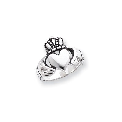 Jewelryweb Sterling Silver Antiqued Claddagh Ring