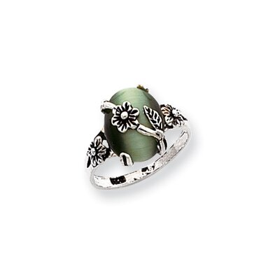 Sterling Silver Green Cats Eye Ring