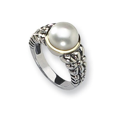 Sterling Silver With 14k Pearl Ring