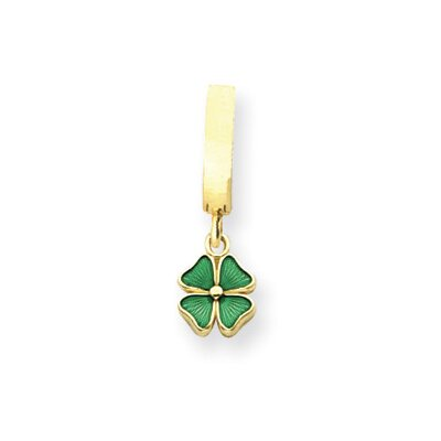 14K Green Enameled Four Leaf Clover TummyToy Belly Ring