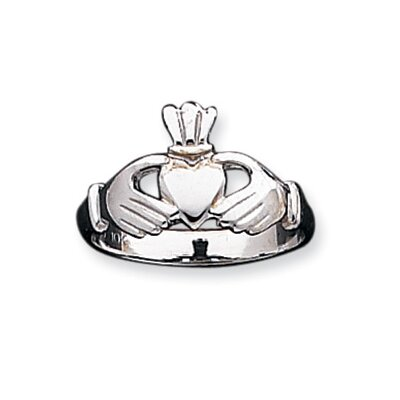 10k White Gold Polished Claddagh