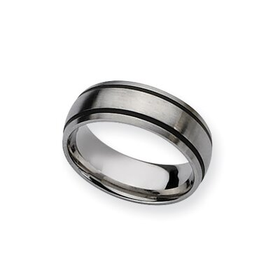 Stainless Steel Black Accent 8mm Satin Band
