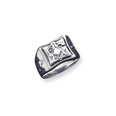 Jewelryweb Sterling Silver Antiqued Masonic Ring
