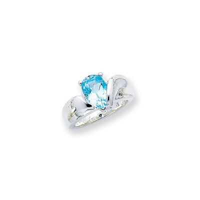 Jewelryweb Sterling Silver Pear Cut Halo Ring