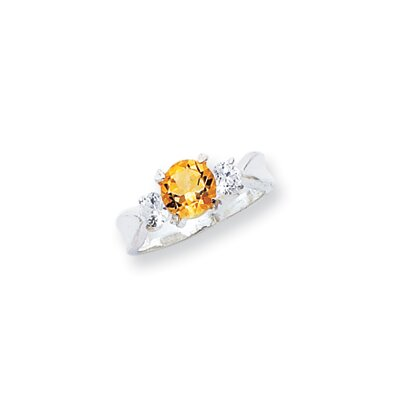 Jewelryweb Sterling Silver Round Cut Citrine Halo Ring