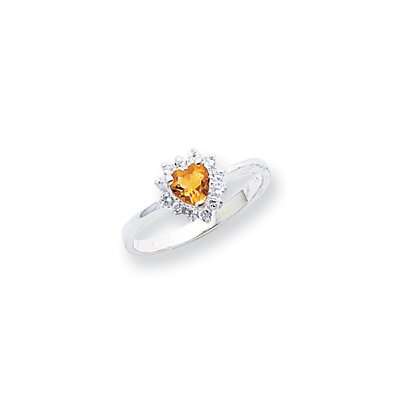Sterling Silver Heart Cut Citrine Halo Ring