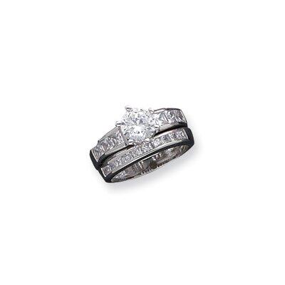 2-Piece Sterling Silver Round Cut Cubic Zirconia Wedding Ring Set