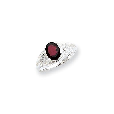 Jewelryweb Sterling Silver Oval Cut Garnet Ring