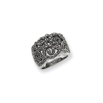 Jewelryweb Sterling Silver Marcasite Ring