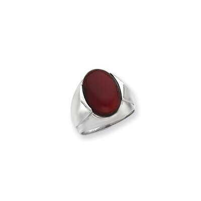 Sterling Silver Oval Carnelian Stone Mens Ring