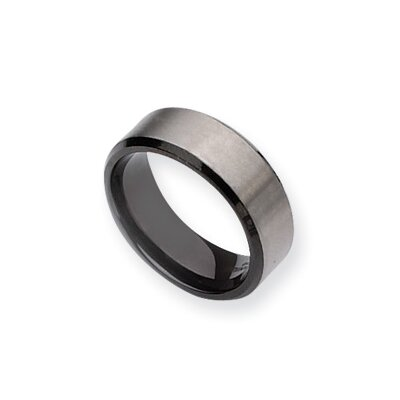 Titanium Black Plated 8mm Brushed Band Ring