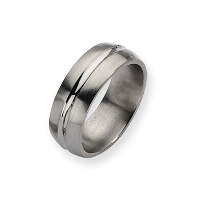 Jewelryweb Titanium Grooved 8mm Brushed Polished Band Ring