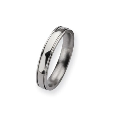 Titanium Grooved and Beaded 4mm Polished Band Ring