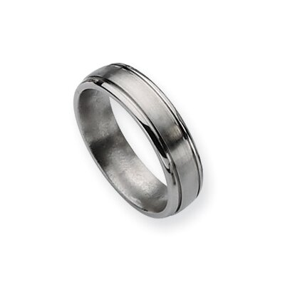 Jewelryweb Titanium Grooved Edge 6mm Brushed Polished Band