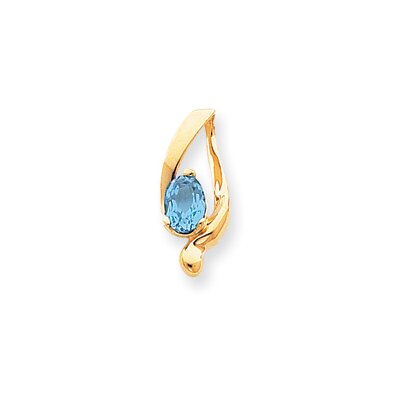 Jewelryweb 14k 8x6mm Oval Blue Topaz Slide