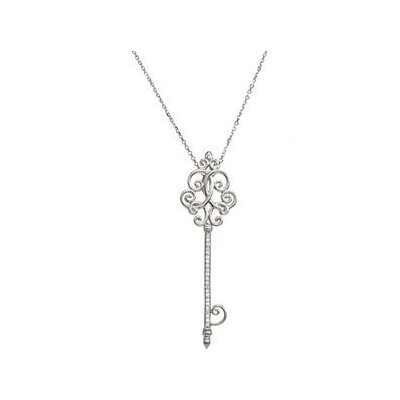 Jewelryweb Sterling Silver Diamond Scroll Key Necklace 1/8ct 18 Inch